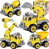 4 in 1 Desmontar y Ensamblarde Vehiculos Construccion Juguete teledirigido Camión Juguete Excavador Juguete con Música Ligero Función Vehiculos Arena Juguete Stem Regalo para niño 4 5 6 7 8 años