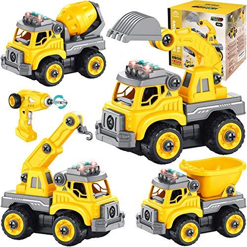 4 in 1 Desmontar y Ensamblarde Vehiculos Construccion Juguete teledirigido Camión Juguete Excavador Juguete con Música Ligero Función Vehiculos Arena Juguete Stem Regalo para niño 3 4 5 6 7 8 años