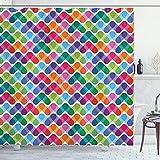ABAKUHAUS Bunt Duschvorhang, Lebhaft & Geometrisch, mit 12 Ringe Set Wasserdicht Stielvoll Modern Farbfest & Schimmel Resistent, 175x180 cm, Mehrfarbig