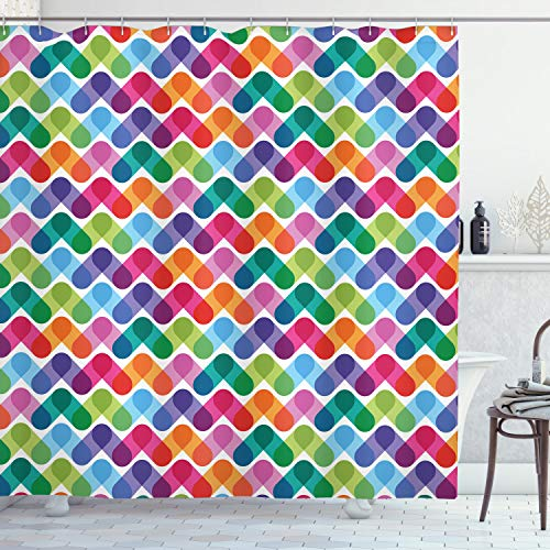 ABAKUHAUS Duschvorhang, Lebendige Mischung von Farben mit Verb&enen Abstrakten Dreieck Formen Geometrie Design, Blickdicht aus Stoff mit 12 Ringen Waschbar Langhaltig Hochwertig, 175 X 200 cm