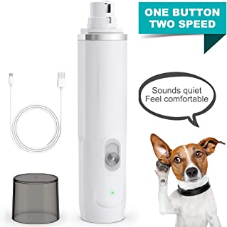 oneisall Dog Nail Grinder - Quiet 2 Speed USB Rechargeable Pet Nail Trimmer Paws Grooming & Smoothing for Small Medium Large Dogs & Cats - White