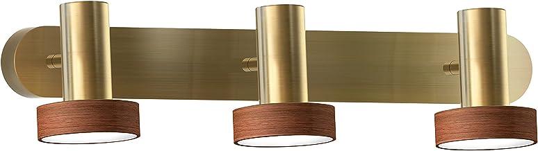 Sulion Led-stekkerdoos voor badkamer, 3 x 5 W, 4.000 K, oud leer en echt hout, IP23