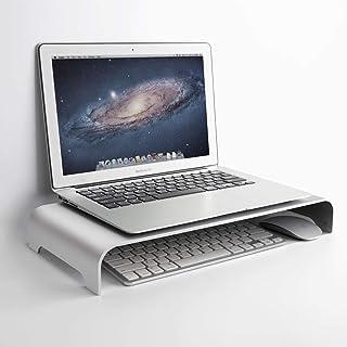 アルミモニタースタンド モニター台 机上台 コンピュータライザーユニバーサルメタルデスクトップPC、ラップトップ、iMac、Mac、MacBook、およびマジックキーボードとマウス用の収納スペースを備えた最大27インチのスクリーン(40×21.5×5cm)