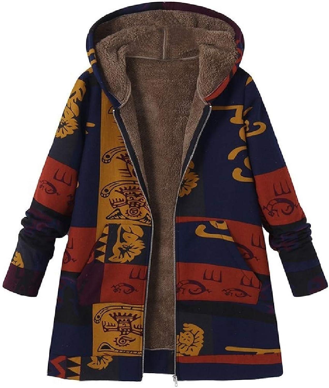 color&W Women Linen Retro Plus Velvet Hood Navajo Floral Thick Outwear Cardigan Coat