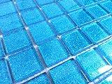 Vetro Mosaico Piastrelle per parete. Colore è blu con glitter (mt0008)