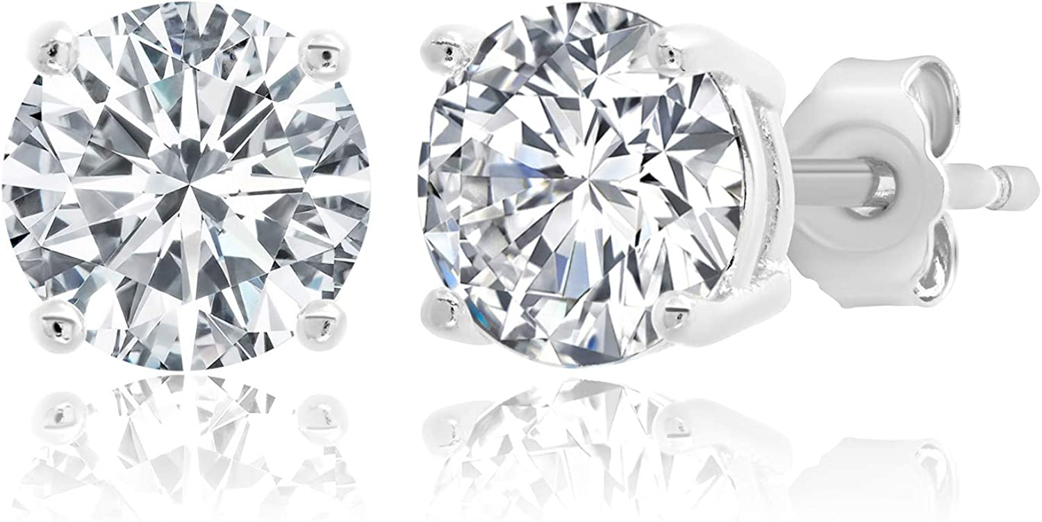 MAX Max 58% OFF + STONE Plated Sterling Zirconia Stud Silver Cubic Earrings Sale SALE% OFF