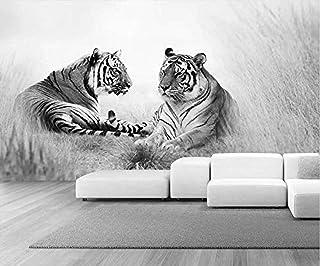 3D Tiger Black and White Wallpaper Hd Decoración de efecto mural 3D Papel tapiz no tejido Papel tapiz 3D Decoración-150cm×105cm