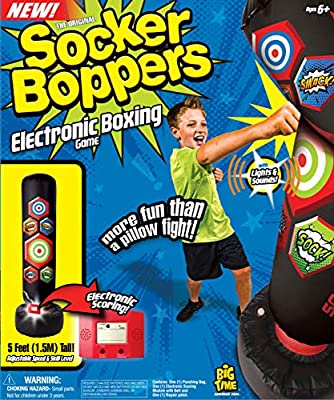 Socker Boppers Electronic Bop Bag by Big Time Toys, Inflatable Punching/Kickboxing Bag withLightsand Sound, Multi by Big Time Toys