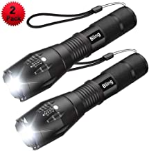 Tactical Flashlight, Bling 1600 Lumens Ultra Bright - CREE XML T6 LED Taclight As Seen On Tv, Focus Adjustable, 5 Modes,Water Resistant Portable For Outdoor Camping Hiking (IPX-6)