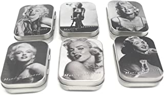 6 Pack Metal Tin Storage Boxes, Aggice Small Tin Containers with Marilyn Monroe for Buttons,Coins,Trinkets,Small Objects (Marilyn Monroe)