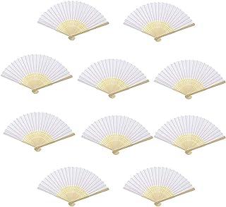 10 Piezas Ventilador de Papel Abanico para Abanico en Blanco, Ventiladores portátiles Plegables de Bambú Mango, Regalos de Boda de la Iglesia,Regalos de Fiesta, Decoraciones de Bricolaje