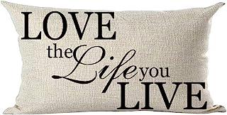 ramirar - Funda de cojín Decorativa con Texto en inglés Love The Life You Live for Lover, Color Negro, 30 x 50 cm