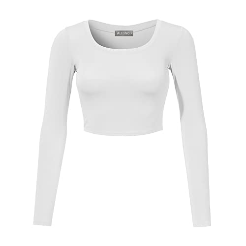6780f808ecd7c LE3NO Womens Stretchy Basic Fitted Round Neck Long Sleeve Crop Top Made in  USA