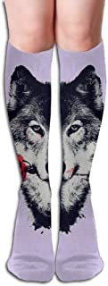 Womens Wild Wolf Roses Sexy Lovely Long Socks Knee High Socks Cosplay Sports Socks