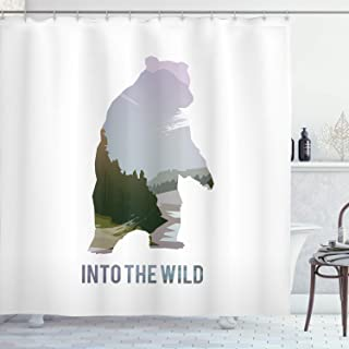 Ambesonne Cabin Decor Shower Curtain by, Wild Animals of Canada Survival in the Wild Theme Hunting Camping Trip Outdoors, Fabric Bathroom Decor Set with Hooks, 70 Inches, Multicolor