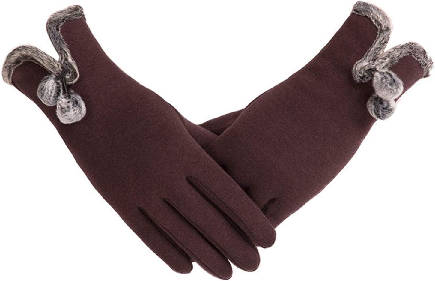 JBIVWW Female Autumn Winter Non-Inverted Cashmere Full Finger Warm Lace Gloves Women Cotton Touch Screen Gloves (Color : E Brown)
