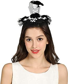 WAASII Halloween Witch Hat GhostGrave Bone Headband Tomb Crow Headband Cosplay Devil Headband Black