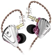 in-Ear Monitors,KZ ZSX 1DD+5BA Hybrid HiFi Stereo Noise Isolating Sport IEM Earphones/Earbuds/Headphones with Detachable Cable for iPhone, iPad, Android, Computer (Without MIC, Purple)