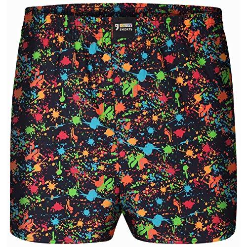 Happy Shorts Boxershorts Herren/Web-Boxer mit Jersey-Inlay – Modell: Neon Sprayer L