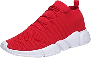 Funnygals Men Trainers Casual Lightweight Running Sneakers Mesh Breathable Lace-Up Gym Sports Shoes Solid Comfy Basketball Shoes