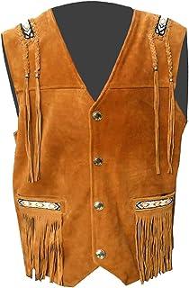 SleekHides Men's Cowboy Suede Leather Fringed Vest