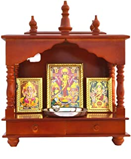 Indian Handicrafts Export Handpainted Wooden Home Temple with Doors, Rajasthani Art (in Side Puja thali, Poja Books,God Pics.LED Lights nd More.