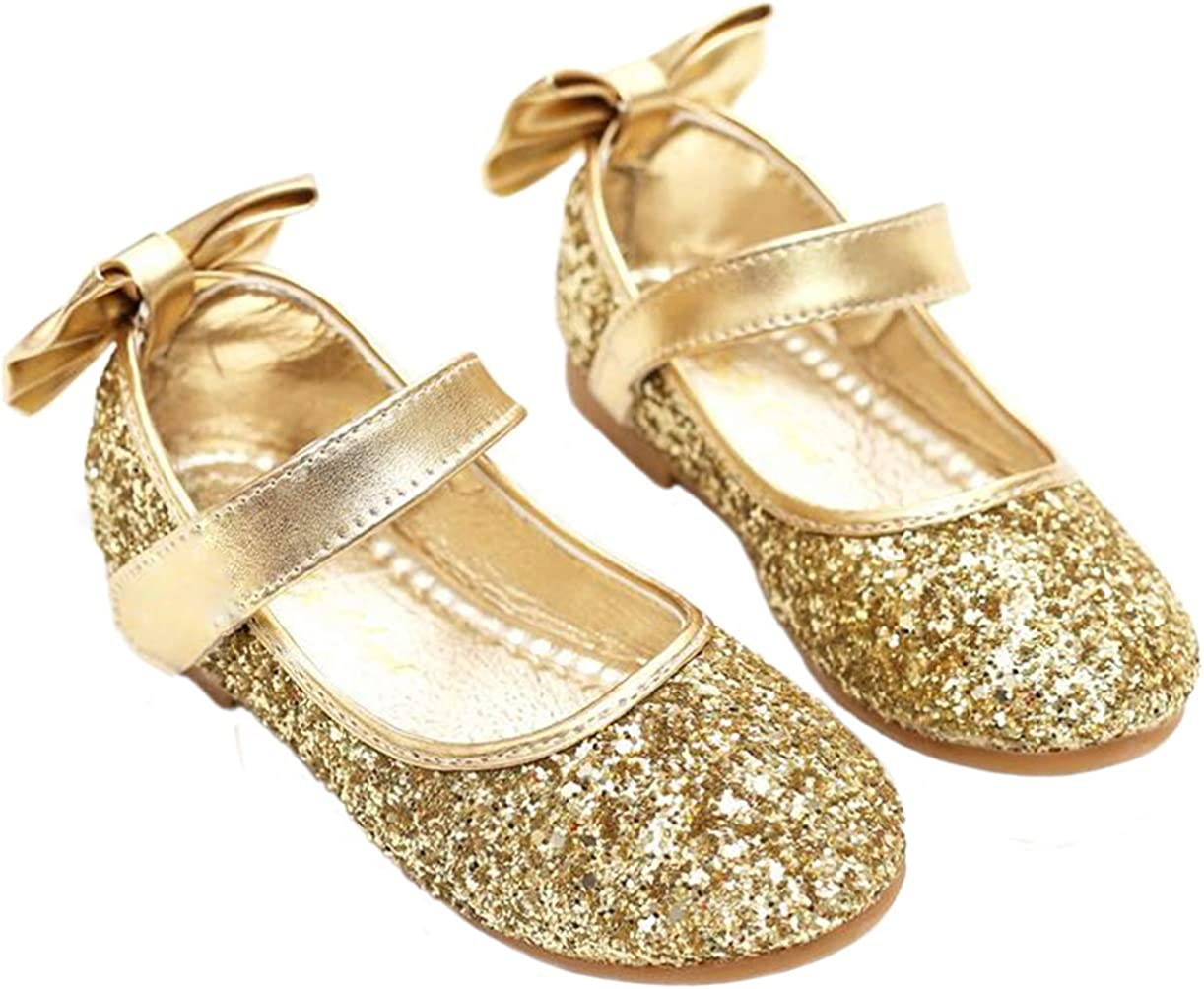 PPXID Girl's Shiny Sequins Sweet Bowknot Flat Shoes Princess Pumps