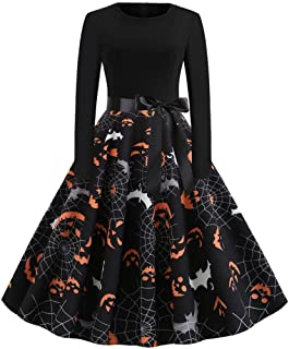 Halloween Dresses 2019, Women Vintage Long Sleeve Halloween 50s Housewife Evening Party Prom Dress