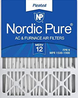 Nordic Pure 20x25x4/20x25x5 (19 7/8 x 24 7/8 x 4 3/8) Honeywell FC100A1037 Replacement Pleated AC Furnace Air Filters MERV 12, Box of 1