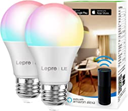 LE Smart Light Bulb, RGB Color Changing LED Bulbs, Works with Alexa and Google Assistant, Dimmable A19 E26 Bulb 60 Watt Equivalent, 2.4GHz WiFi Only, No Hub Required, 2 Pack