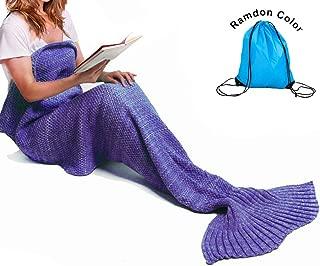 Mermaid Tail Blanket Crochet Mermaid Blanket for Adult, Pretty Handy All Seasons Sleeping Blankets Knitted Sofa Air Conditioning Blanket Sleeping Bags (Purple)