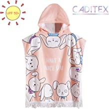 CADITEX Toddler Hooded Beach Bath Towel - Kids Hooded Bath/Beach Towel Girls Boys Cute Cartoon Animal Full Vitality (Expression Rabbit)