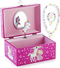 RR ROUND RICH DESIGN Kids Musical Jewelry Box for Girls and Jewelry Set with Lovely Unicorn Theme - Swan Lake Tune Rose Red
