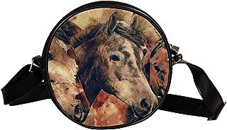Coosun Umhängetasche mit Pferdekopf, Tiere, Säugetiere, runde Umhängetasche für Kinder und Damen