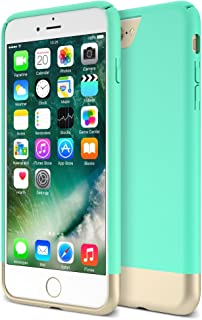 iPhone 7 Plus Case, Maxboost [Vibrance Series] Protective Slider Style Slim Cases Covers for Apple iPhone 7 Plus 2016 Soft-Interior Scratch Protection Finish - Turquoise/Gold
