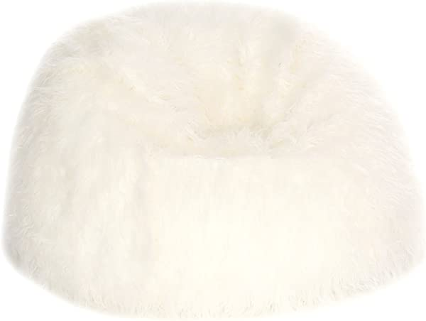Acanva Large Plush Faux Fur Teardrop Slacker Bean Bag Chair For Adult And Kid White