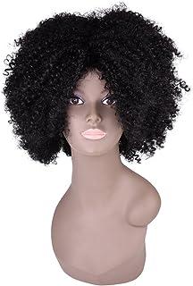 "Miss Rola Synthetic Afro Curly Wig Soft Silk Kanekalon Fiber For Black Women Short Kinky Hair Natural Black Color 11"" 162g (1B#)"