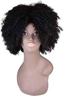 "Miss Rola Synthetic Afro Curly Wig Soft Silk Kanekalon Fiber For Black Women Short Kinky Hair Natural Black Color 11"" 162g (1B#)"