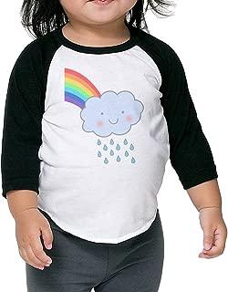 Kids Boy's & Girl's Cute Rain Cloud Rainbow 3/4 Sleeve Raglan T Shirts