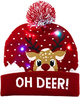 OurWarm LED Christmas Hat, Light Up Christmas Hat Unisex Red Knitted Beanie Holiday Hat with Deer Printing for Party Christmas Gifts