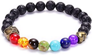 TASBERN Lava Rock Bracelet 7 Chakras Beaded Aromatherapy Essential Oil Diffuser Bracelet Natural Stone Yoga Beads Bracelet Adjustable