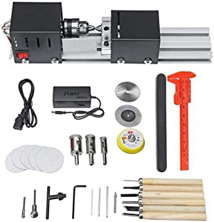 KKTECT 96W Mini Torno, Mini Bead Machine, DIY Woodworking Wood Torno Rectificado de pulido Conjunto de herramientas de taladro