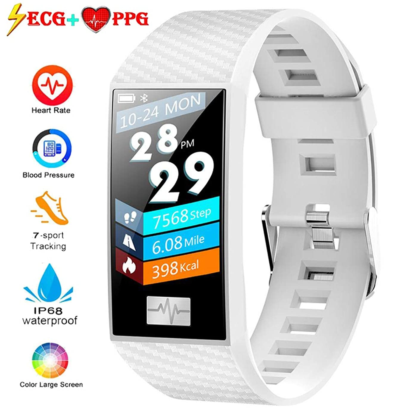 Lesgos ECG PPG Fitness Tracker, IP68 Waterproof Activity Tracker Watch [Support Swimming] with Heart Rate Blood Pressure Monitor, 1.14Inch Color Screen Bluetooth Sports Bracelet for Android and iOS