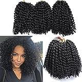 6 Small Bundles Marlybob Crochet Hair Afro Kinky Curly Hair Crochet Braids Curly Crochet Braiding Hair Synthetic Hair Extension (1B#)