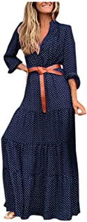 LODDD Women Plaid V-Neck Long Sleeve Dress Casual Long Beach Dress