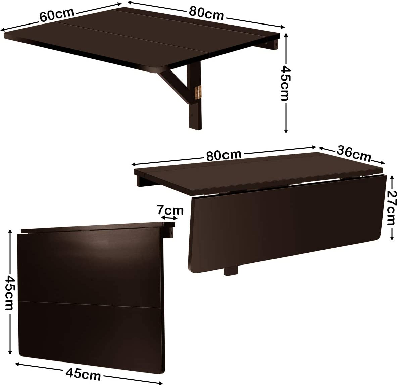 Wandklapptisch aus Holz bis zu 40 kg belastbar platzsparender Esstisch RELAX4LIFE Wandtisch klappbar Braun Schreibtisch f/ür Esszimmer /& Studierzimmer Stabiler Klapptisch Wandmontage 80 x 60cm