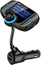 Bluetooth Car Adapter Cigarette Lighter Aux Hands free Car Kit Mp3 Music Player FM Transmitter Radio Adapter with Screen Off Switch & Mic for iPhone 7 Plus X 8, Samsung Galaxy S8+ Note 8 Android