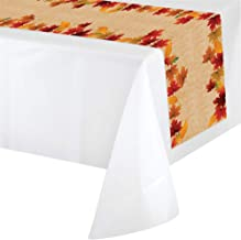 "Creative Converting Thanksgiving Table Runner 84"" x 14"" Fall Table Runner Plastic with Fall Decor Autumn Decorations Pk of 2"