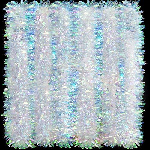 26,2 Fuß Weihnachten Lametta Girlande Glänzende Schillernde Weiße Girlande Twist Girlande Hängende Dekorationen für Weihnachten Party Innen und Außen Dekoration
