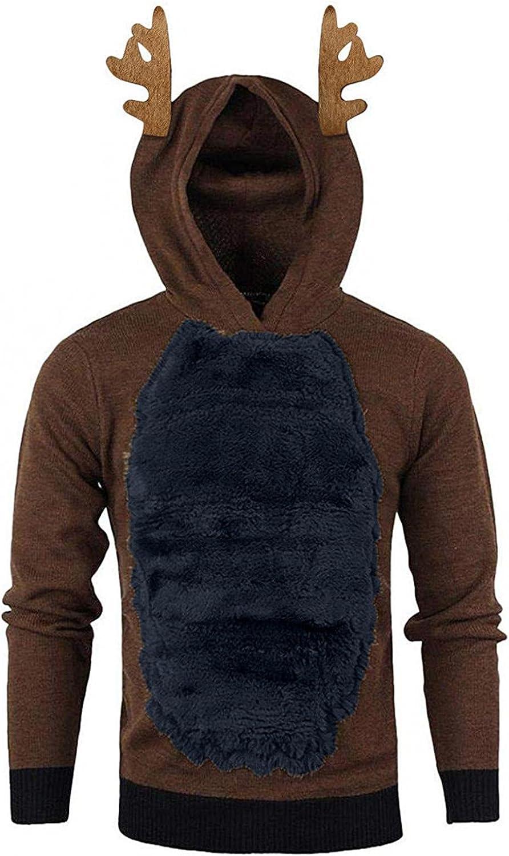 Xmas Christmas Hoodies For Men Closplay Elk Pullover Hoody Feather Hooded Sweatshirt Contrast Long Sleeve Hoodie